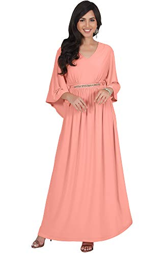 KOH KOH Plus Size Womens Long V-Neck Half Batwing Dolman Sleeve Evening Cocktail Flowy Empire Waist Bridesmaid Formal Kaftan Wedding Guest Gown Gowns Maxi Dress Dresses, Light Pink Peach 3XL 22-24
