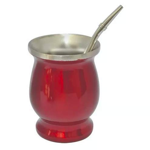 Mate set - stainless steel mate cup with bombilla (Red)