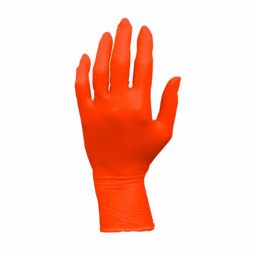 ProWorks GL-N105ORFL Nitrile Exam Gloves, Powder Free, Large, Orange (Pack of 100)