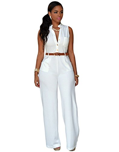 Blaunia Women's Sexy Wide Leg Jumpsuits with Belt, Deep V Sleeveless Button Sexy Solid Color Romper
