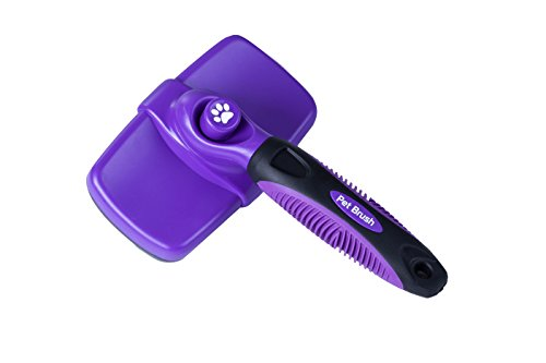 Daxpoo Pet De shedding Grooming Tool Self Cleaning Slicker Brushes (Purple and Black)