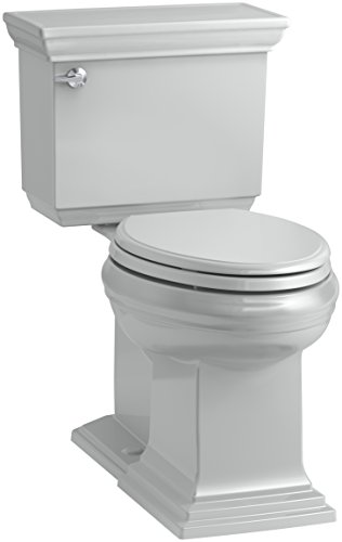 KOHLER K-6669-95 Memoirs Stately Comfort Height Elongated 1.28 GPF Toilet with Aqua Piston Flush Technology, Concealed Trap Way and Left-Hand Trip Lever (2 Piece), Ice Grey