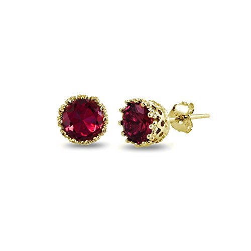 Yellow Gold Flashed Sterling Silver Created Red Ruby Crown Stud Earrings