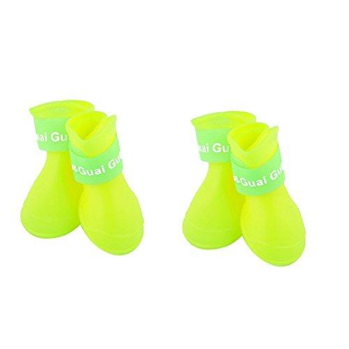 eDealMax Caoutchouc Chien chiot pluie Neige Chaussures Anti-drapant impermable Bottes bottillons 2 paires Jaune