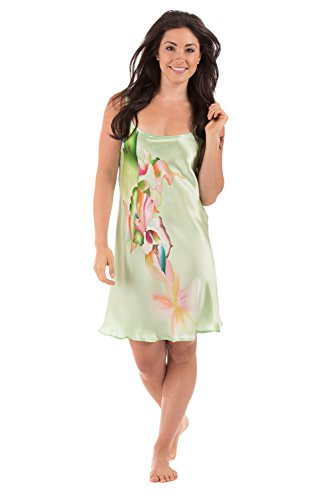 Womens Short Silk Nightgown Chemise (Calla Lilies) Luxury Gifts by TexereSilk