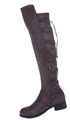 Grau Stiefel 36 Overknee 37 40 39 38 Grau 41 Schwarz Damen Schuhe XPgq5UFnn