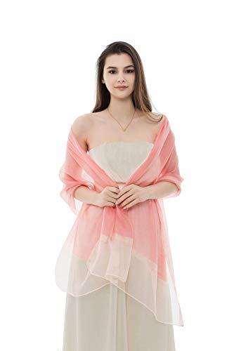 REEMONDE Womens Pure Silk Scarf Long Large Lightweight Wraps Pashmina Shawl for Evening Dresses - Long Stripe Silk Scarf