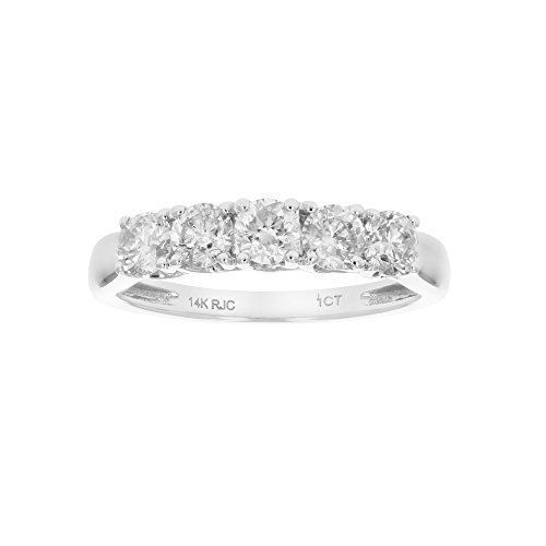1 CT 5-Stone Diamond Ring 14K White Gold in Size 8