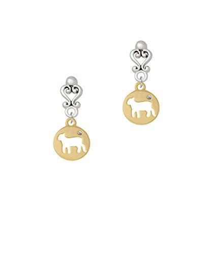 Gold Tone Lamb Silhouette - Filigree Heart Earrings