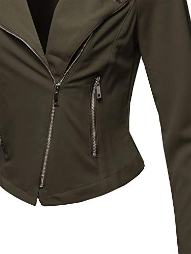 Awesome21 Solid Asymmetrical Zipper Closure Long Sleeve Thin Biker Style Jacket Olive L by Awesome21 (Image #3)