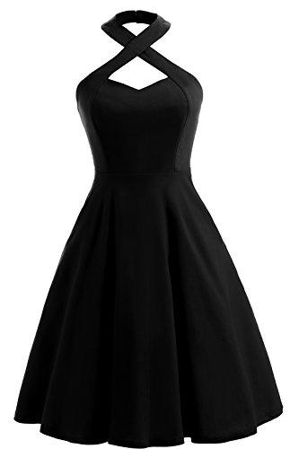 20s Costumes London - Joansam Women's 1950s Vintage Womens Crisscross Halter Neck Swing Dresses JSCD1554B-S