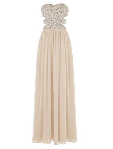 Dresstells Sweetheart Prom Dress with Beads Long Chiffon Dress for Women Champagne Size 8