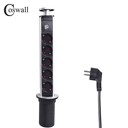 16 A PULL POP UP 5 enchufe de alimentación 2 puerto de carga USB ...