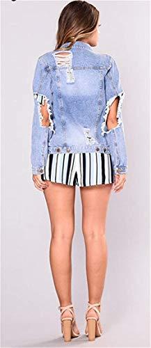 Lunga Donna Giacca Mode Manica Primaverile Blu Di Corto Single Cavo Bolawoo Casual Bavero Breasted Giacche Tasche Elegante Cappotto Marca Anteriori Jeans Confortevole EcqwvvpRP