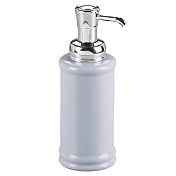 mDesign Dispensador de jabon liquido rellenable - Dosificador de jabon de cerámica con válvula – Color