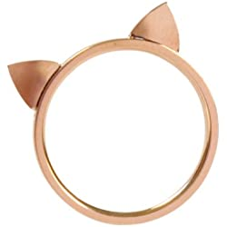 ELBLUVF 18k Rose Gold Plated Titanium Cat Ears Ring Kitty Cat Ring Size 4-7 (8)