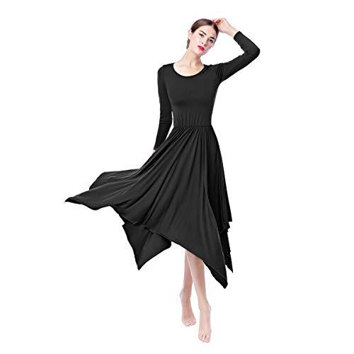 IWEMEK Women Irregular Hem Liturgical Praise Dance Dress Lyrical Loose Fit Full Length Long Sleeve Pleated Swing Dress Worship Costume Ballet Dancewear Black XX-Large ()