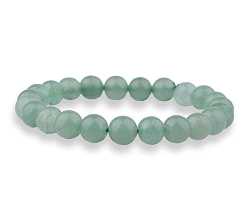 Candyfancy 8mm Natural Green Aventurine Stone Healing Elastic Beaded Stretch Bracelets for Women Men DIY Spiritual Bracelet For6.8-7.5Inch Wrist (Natural Green Aventurine)