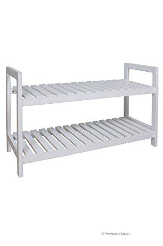 Cape Cod Wood Slats 2-Shelf Large White Stackable Shoes Shoe Rack (Wood Slat Shelves)