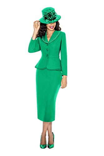 Giovanna Signature Womens Washable 2-Piece Peplum Embellished Skirt Suit Emerald