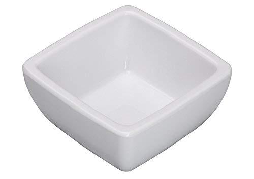 Winco WDM009-201, 2-1/2″ White Melamine Square Mini Bowls, 2 Oz Ardesia Linza Serving Sauce Cups, Mini Serve Bowl Set, Ramekins, Melamine Dipping Cups, 48-Piece Set