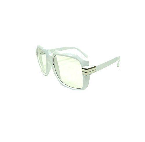 4065 White 80s Retro Hip Hop Eyeglasses Oversized Clear - Eyeglasses 80s