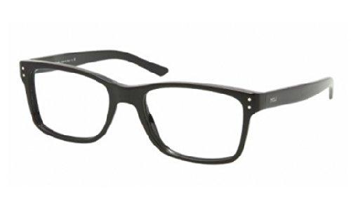 Polo PH 2057 Eyeglasses Styles Shiny Black Frame w/Non-Rx 55 mm Diameter Lenses,