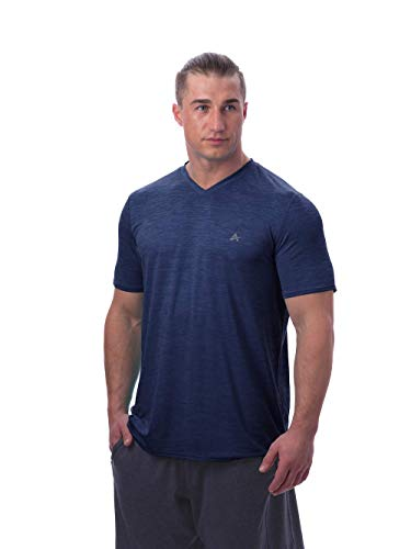 Arctic Cool Men's V-Neck Instant Cooling Short Sleeve Shirt Performance Tech Breathable UPF 50+ Sun Protection Moisture Wicking Comfortable Athletic Quick Drying T-Shirt, Midnight Navy Twist, M