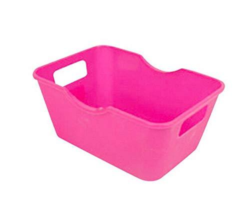 (MOPOLIS Plastic Office Desktop Storage Boxes Makeup Organizer Desktop Small Storage Box | Color - Hot Pink)