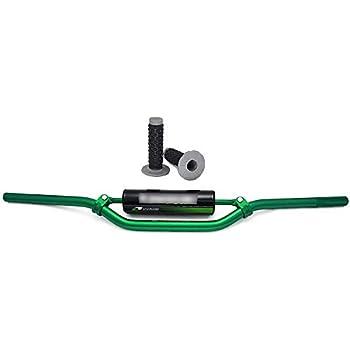7//8 22mm Green Universal Motorcycle Mid Handlebars Handle Bar Tubes Handlebar Cross Bar with Pad Grips Set Kawasaki KX65 KX85 KX125 KX250 KX500