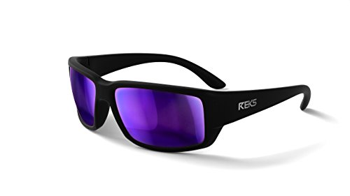 REKS Polarized Unbreakable WRAP AROUND Sunglasses (NEW 2018 Model) (Satin Touch Black, Purple Mirror) -
