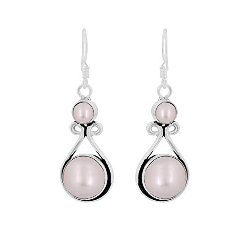 Genuine Round Shape Pearl Dangle Earrings 925 Silver Overlay Handmade Fashion Jewelry For Women Girls