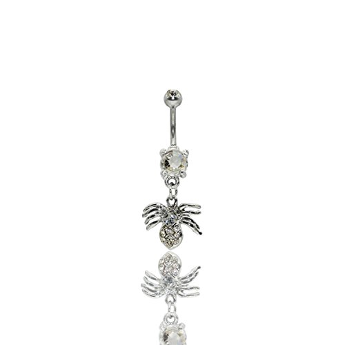 Jewels Fashion Spider Multi Gem Dangle Surgical Steel Belly Button Ring 14G 3/8 Bar Length With Cubic Zirconia ()