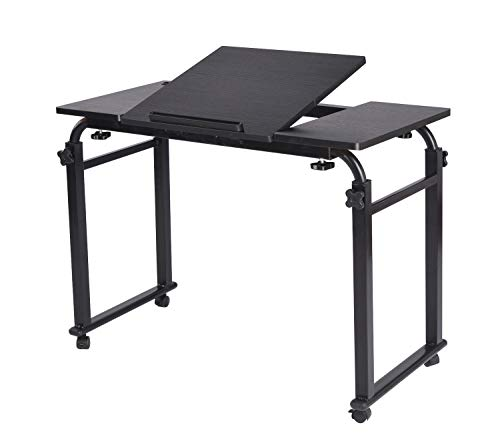 (Overbed Table Laptop Cart Table Desk on Wheels Over The Bed Table Computer Study Desk for Home Hospital with Adjustable Width and Height)