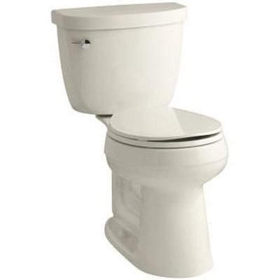 Height Two Piece Round Front (KOHLER K-3887-47 Cimarron Comfort Height Two-Piece Round-Front 1.28 GPF Toilet with AquaPiston Flush Technology and Left-Hand Trip Lever, Almond)