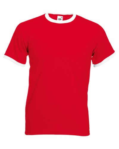 Fruit of the Loom Ringer tee Red/ White L (Tee Fruit Of The Loom Ringer)