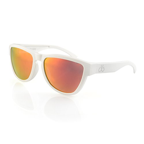 Filthy Anglers Wedge Polarized Wayfarer Sunglass White Frame Glasses, Smoked with Red Sunburst Mirror - Sunglasses Wayfarer White