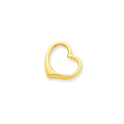 ICE CARATS 14kt Yellow Gold 3 D Floating Heart Slide Necklace Pendant Charm Chain Fine Jewelry Ideal Gifts For Women Gift Set From Heart (Heart Floating Set Pendant)