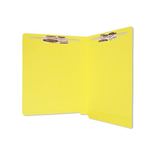 SJ Paper WaterShed/CutLess Yellow File Folder with 2 Permclip Fasteners- Letter Size, 11pt, End Tab (50/Box)