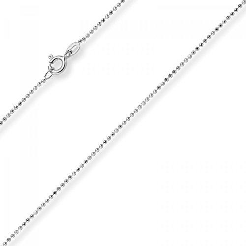 1mm Chaîne Boule diamanté Chaîne Or Collier en or blanc 585, 60cm