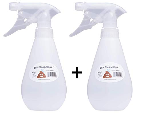 Shit Stain Zapper - Most Powerful Empty Spray Bottle SSZ Adjustable Nozzle Jet Stream Portable Blaster or Spritzer 12 OZ (350ml) Colorless (Pack of 2 Spray Bottles)