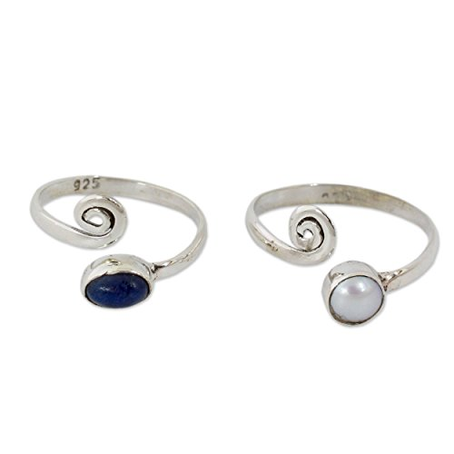 NOVICA Dyed Freshwater Cultured Pearls and Lapis Lazuli Stone Toe Rings, Perfection' (pair)
