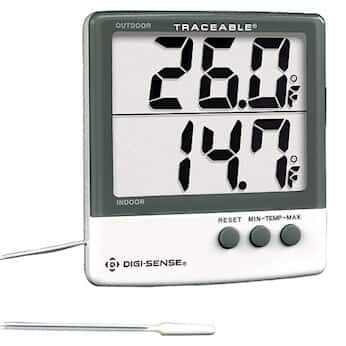 Digi-Sense Calibrated Indoor/Outdoor Digital Thermometer with Giant Dual-Display by Digi-Sense