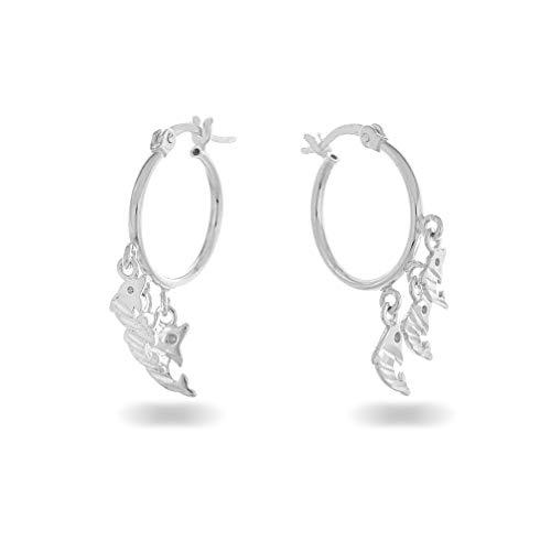 Cut Dolphin Charm - PORI JEWELERS Sterling Silver Diamond Cut Charm Hoop Earrings - for Women - French Lock (Dolphin)