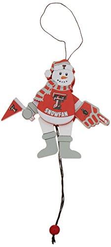 NCAA Texas Tech Red Raiders Wooden Cheering Snowman Ornament