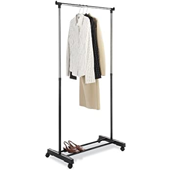 Whitmor Adjule Garment Rack Black Chrome With Wheels