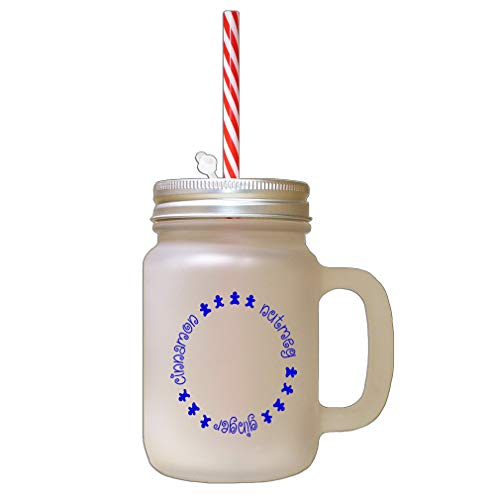 Royal Blue Cinnamon, Nutmeg, Ginger Frosted Glass Mason Jar With Straw