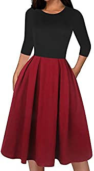 oxiuly Women's Classic Solid 3/4 Sleeve Cotton Work Dress Vintage 1950's Party Dresses with Pocket