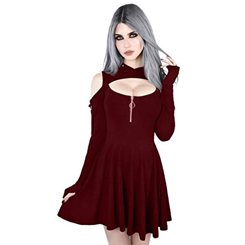 Women's Dress Fashion Gothic Pure Color Hooded Low Cut Cold Shoulder Zippe Mini Dress Retro Cocktail Romantic Casual Red]()