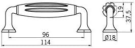 Kunststoff zinnfarbig wei/ß Vintage Klassisch LA 96 mm 114 mm x 37 mm x 18 mm Druckguss SIRO M/öbelgriff Einlage W/örth Landhaus 1918-114ZN28A4